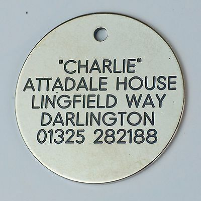Quality Engraved Pet tag -Large 38mm circle Nicron tag