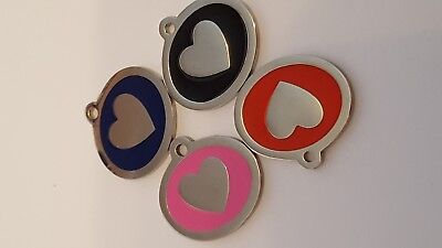 Engraved Enamel & Stainless steel CAT tag  - Heart