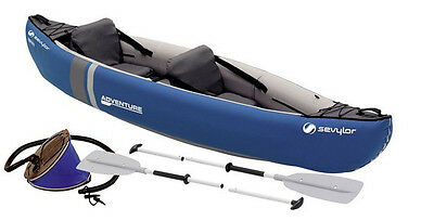 Sevylor Adventure Kit - 2 person Inflatable Canoe + Oars + foot pump.