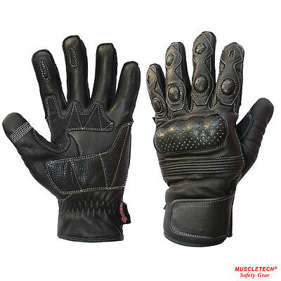MTECH Motorbike Gloves Leather Summer Short Gloves Perforated Motorcycle Gloves