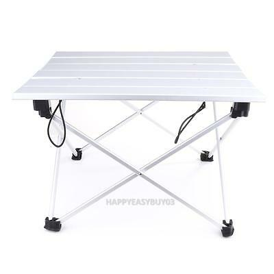 Portable Folding Aluminum Rolling Table with Bag for Travel Camping Picnic Party