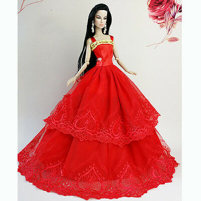 Red Handmade Wedding Gown Dresses Girl Party For Princess Barbie Doll Xmas