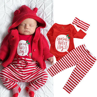 Toddler Baby Girl Boy Tops Romper+Striped Pants 3pcs XMAS Outfits Set Clothes UK