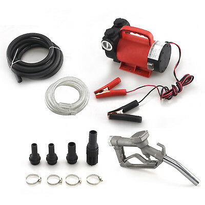 12V Portable Fuel Transfer Pump | 10GPM Diesel Kerosene Oil Gas Nozzle Kit