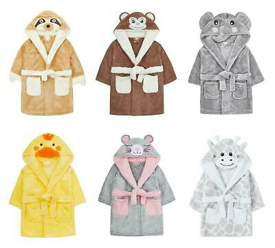 Baby Cute Dressing Gown Elephant Panda Duck Hooded Face Detail 6-12 12-18 18-24m