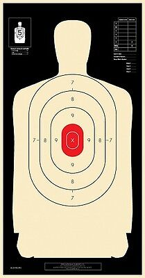 Qty - 50 reverse with reverse Silhouette with red ctr B-27E Shooting Targets