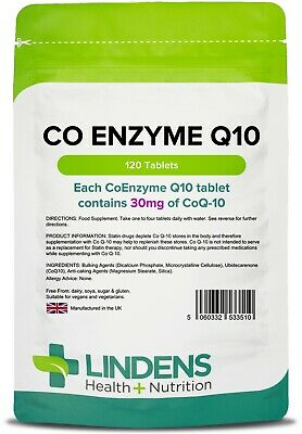Co Enzyme Q10 30mg Co-Q10 120 Tablets Energy Heart Antioxidant Immune Lindens UK