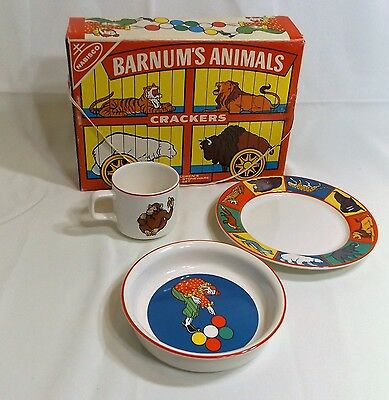 Vintage Nabisco Animal Crackers Barnum's 3 Piece Childs Stoneware Place Setting