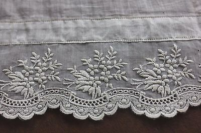 Antique French White On White Embroidered Bridal Handkerchief c1880~Wedding,Lace