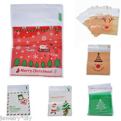JD 50PCs Christmas Self Adhesive Seal Plastic Bags Candy Cookies Pouches 15x10cm