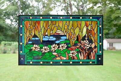 """35"""" x 21"""" Stained glass window panel Waterlily Lotus Flower Pond"""
