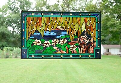 """34.5"""" x 20.5"""" Stained glass window panel Waterlily Lotus Flower Pond"""