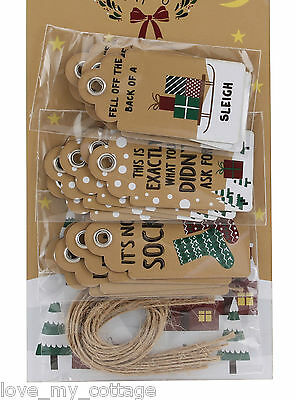 15 Assorted Fun Merry Christmas Gift Tags Slogan Craft Kraft Luggage Label Twine