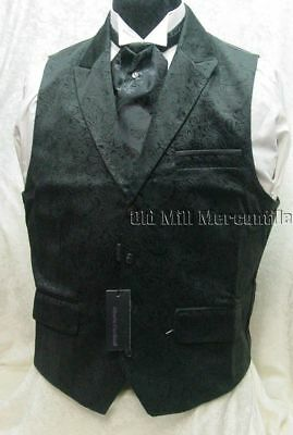 Mens wedding Victorian Old West single breasted black paisley vest S-XXL