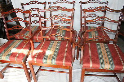 Charming Set of Six Chippendale Mahogany Dining Chairs, 2 Arm & 4 Side Chairs