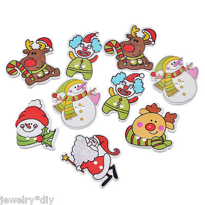 JD 50PCs Fashion Christmas Santa Claus Wood Button Two Holes Scrapbooking Crafts