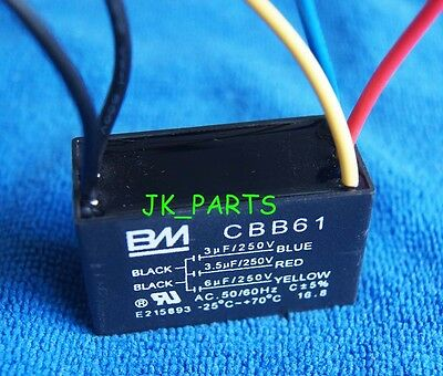 New BM CBB61 4.5uF+5uF+5uF 5 WIRE 250VAC Ceiling Fan Capacitor UL CERTIFIED