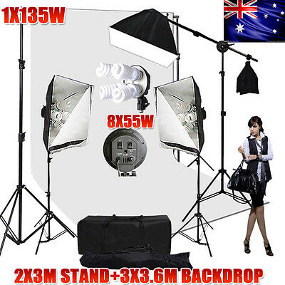 2875W Photography Studio Softbox Lighting White Backdrop Stand Support Set NEW
