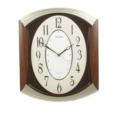 Rhythm Sweep Lounge Wall Clock With 3D Dial/Arched Top/Dark Wood Wall Clock