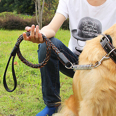 Pets Leather Knit Chain Training Leash Lead Large Dog Traction Rope W/Collar