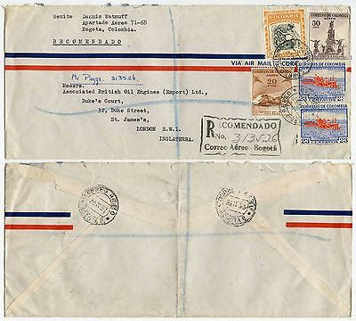 COLOMBIA REGISTERED AIRMAIL MULTI FRANKING 1957 RECOMMENDADO HANDSTAMP to GB