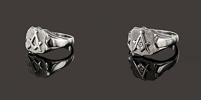 Solid Silver Square and Compass Shield Masonic Ring