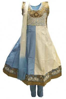 GCS3099 Turquoise and Beige Girl's Churidar Suit Indian Bollywood Fancy Dress