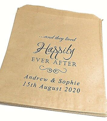 Personalised Vintage Brown Paper Wedding Sweet Bags Candy Cart Favour Cake