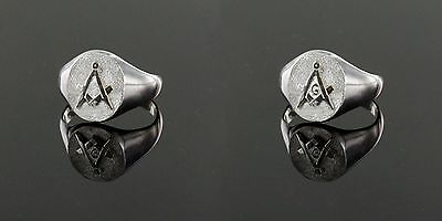 Solid Silver Square and Compass Oval Masonic Ring