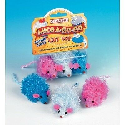 CLASSIC CURLY CUTIE MICE WITH CATNIP 60mm fun exercise for cat kittens 3 pack