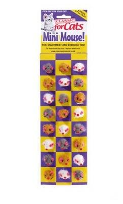CLASSIC FURRY MINI MICE (4 PACK) assorted coloured cat toy
