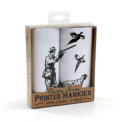 Shooting Printed 2 Pack Hankys Handkerchiefs Cotton Mens Kids Retro Dog Game