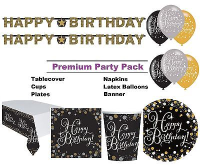 Gold Sparkling Birthday 8-48 Guest Premium Party Pack Tableware | Decorations