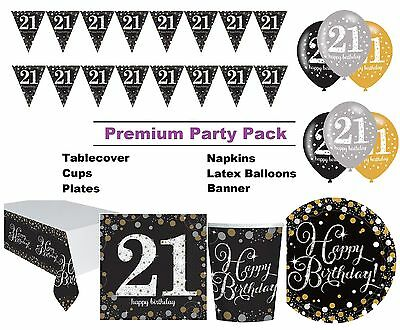 Gold Sparkling 21st Birthday 8-48 Guest Premium Party Pack Tableware Decorations
