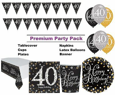 Gold Sparkling 40th Birthday 8-48 Guest Premium Party Pack Tableware Decorations