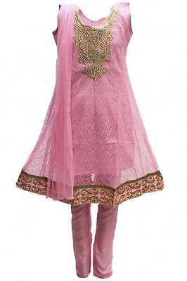 GCS3084 Baby Pink and Gold Girl's Churidar Suit Indian Bollywood Fancy Dress