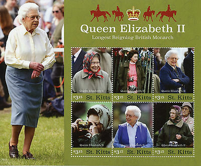 St Kitts 2016 MNH Queen Elizabeth II Longest Reigning Monarch 6v M/S Stamps