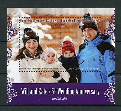 Union Island Gren St Vincent 2016 MNH William & Kate 5th Wedding 2v S/S Stamps