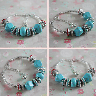 Fake Turquoise Chic Tibetan Metal Anklet Beautiful Ankle Bracelet Newest