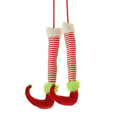 "RAZ Imports 12.5"" Elf Legs Pair Red Striped Green Christmas NEW!"