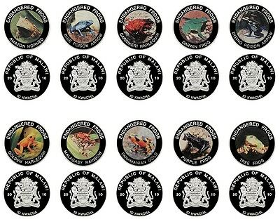 Malawi 10 Kwacha X 10 Piece, 31g Silver Plated Coin Set, 2010, Endangered Frogs