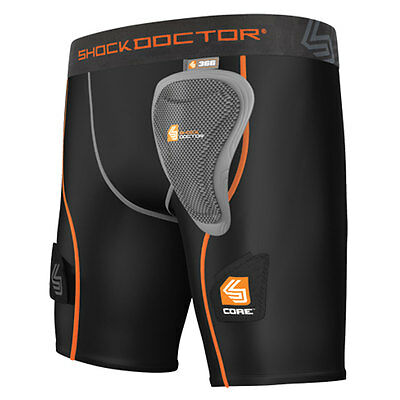 Shock Doctor Women Core Compression Hockey Short w/ Pelvic Protector Black Small