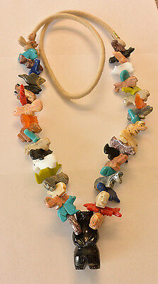 ZUNI Style  Fetish Necklace Standing Black Bear Multi Stone hand Carved.