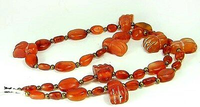 Antique Carnelian Carved Bead Egypt Cat Paw Hand Oval Carrot Tone Amulet Neckace