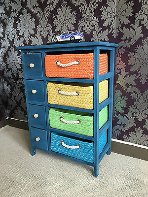 New Blue Bedside Cabinet Draw Wicker Drawers Indoor Rattan Furniture Shabby Chic