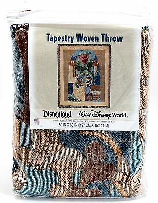 NEW Disney Parks Beauty and the Beast Stained Glass Tapestry Woven Throw Blanket