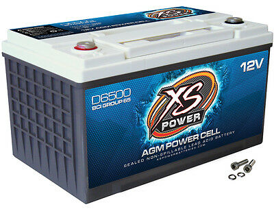 XS Power D6500 12 Volt AGM 3900 Amp Sealed Car Audio Battery/Power Cell+Terminal