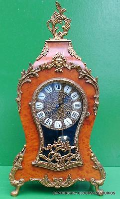 Vintage 8 Day Ormolu Boulle Type Rococo Walnut Mantle Bracket Clock Serviced
