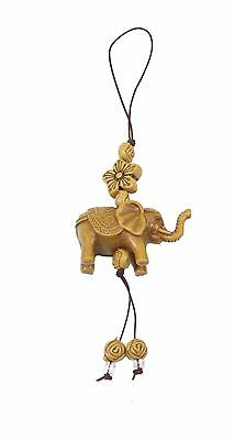 Brown Elephant with Star Flower Cell Phone Good Luck Charm Strap Accessory Gift