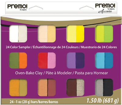 Premo Sculpey Accents Polymer Clay Multipack 1oz 24/Pkg Assorted Colors PEMP-024